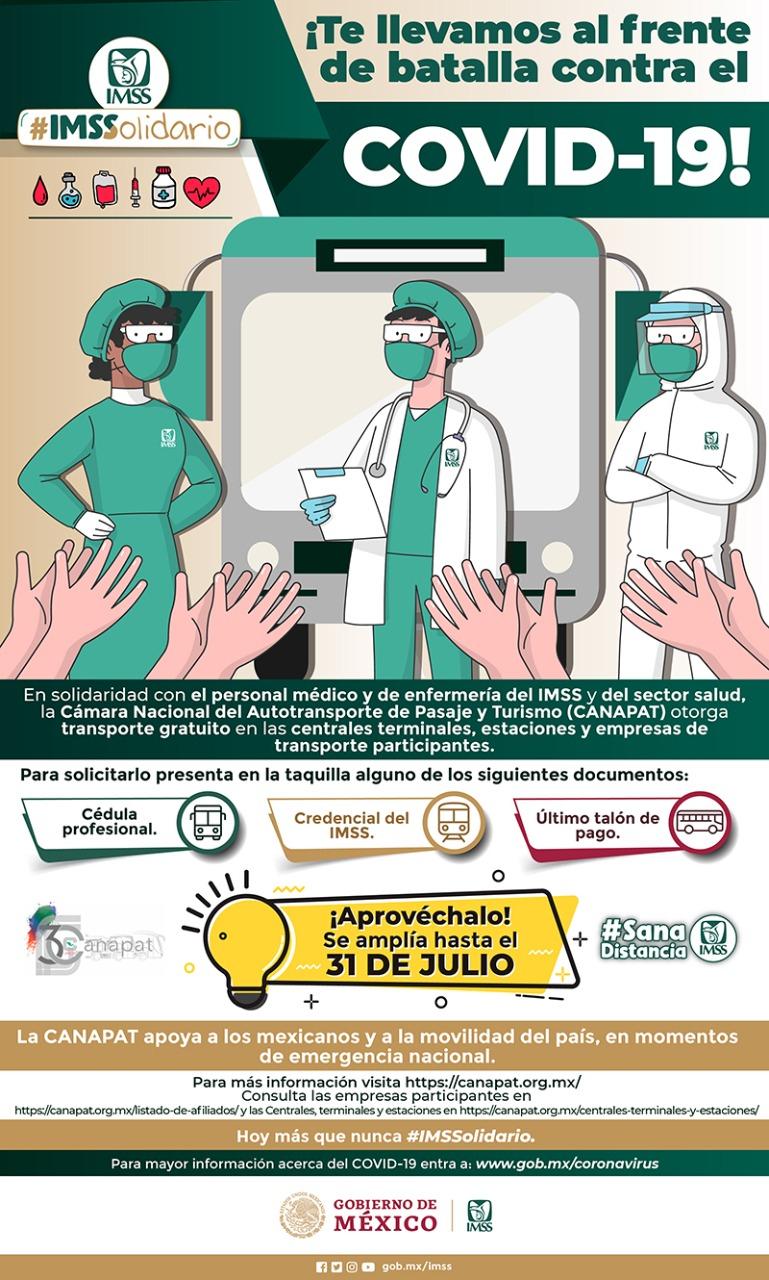 VIAJE GRATUITO HASTA EL 31 DE JULIO PARA NUESTROS MEDICOS IMSS CENTRALES CAMIONERAS