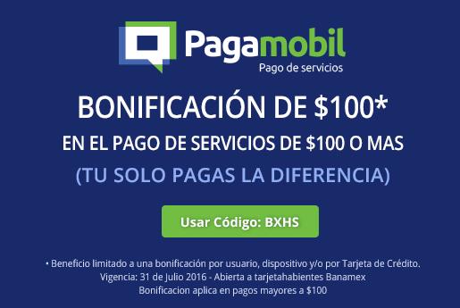 Promociones del Hot Sale 2016 en Pagamobil: $100 de bonificación en pagos de servicio de $100 o más con Banamex
