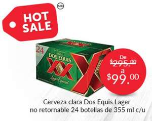 Promoción del Hot Sale en Superama: Cerveza clara XX Lager 24 pack botellas 355ml a $99