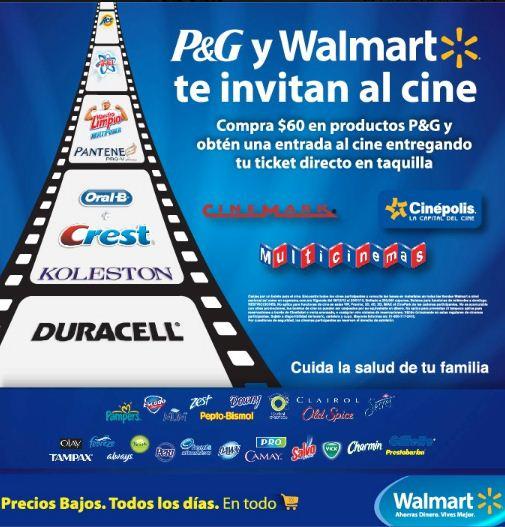Boleto gratis para el cine comprando $60 de productos P&G en Walmart y Superama