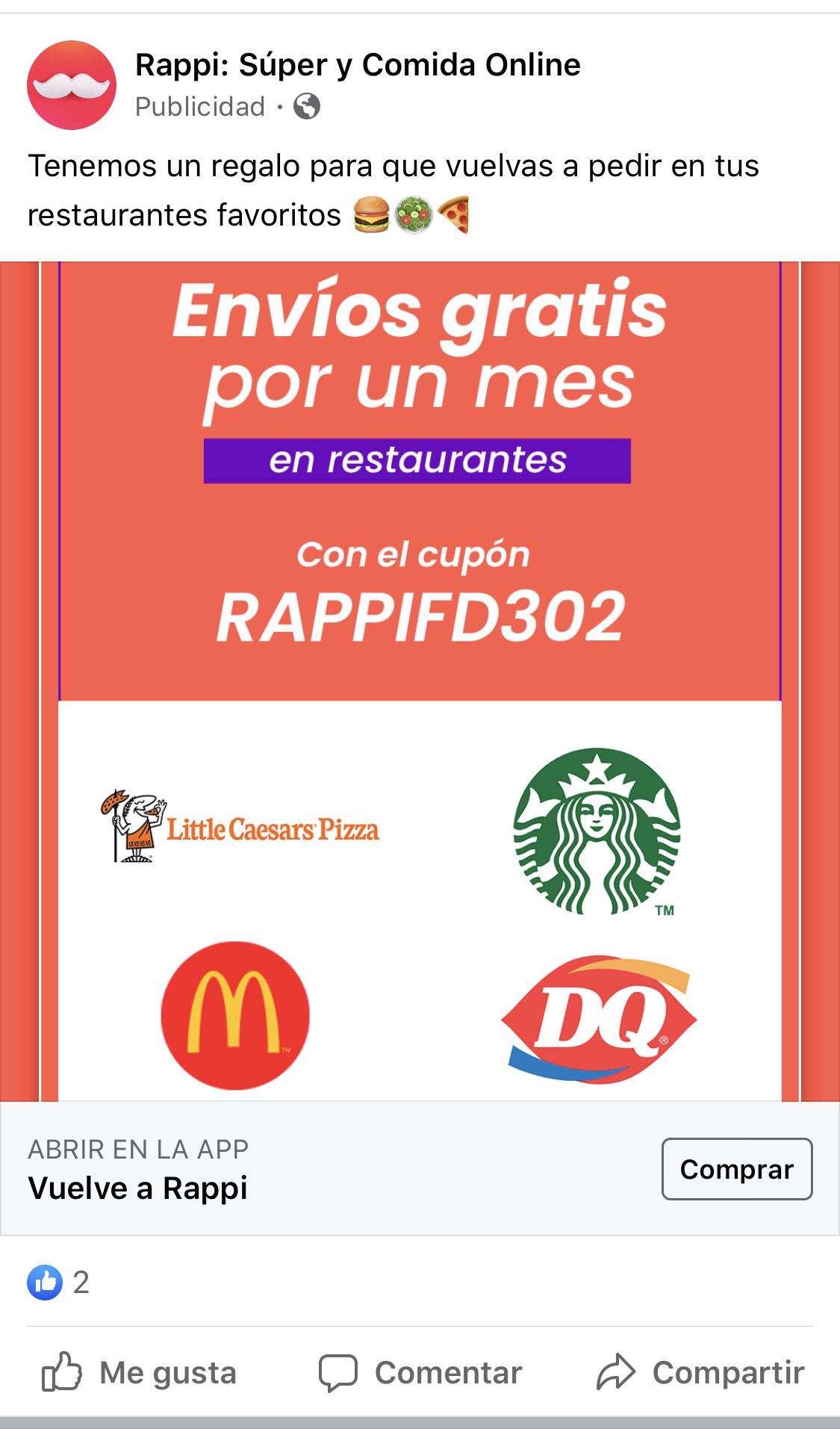 Rappi: Envíos gratis por un mes