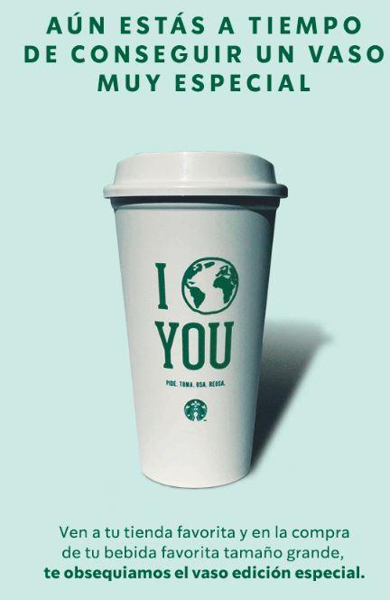Starbucks: vaso edición especial gratis en la compra de una bebida grande