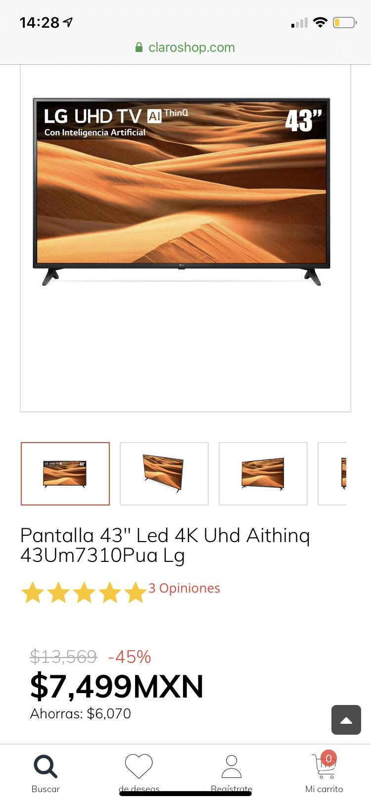 "Claro Shop LG Pantalla 43"" Led 4K Uhd Aithinq"