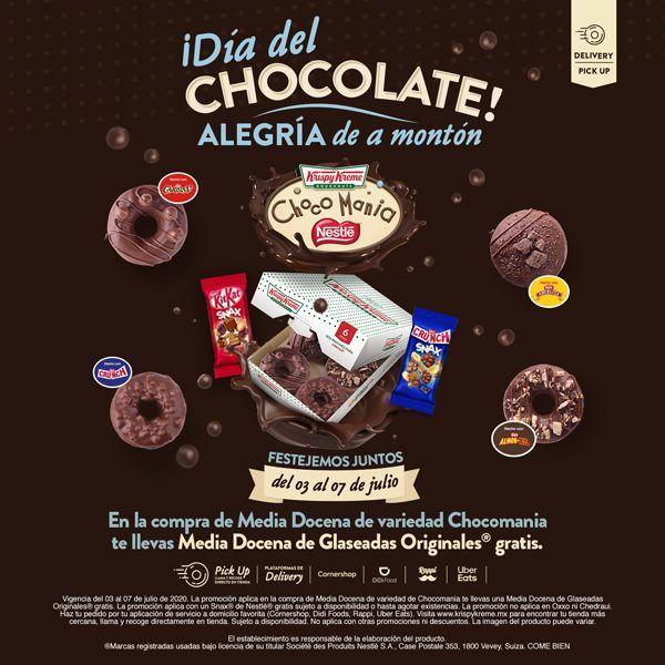 Krispy Kreme: Compra Media Docena de Donas Chocomanía y llévate GRATIS Media Docena Glaseada Original.