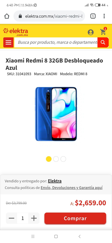 Elektra Xiaomi Redmi 8, Versión Global 3/32, Desbloqueado - Color Azul