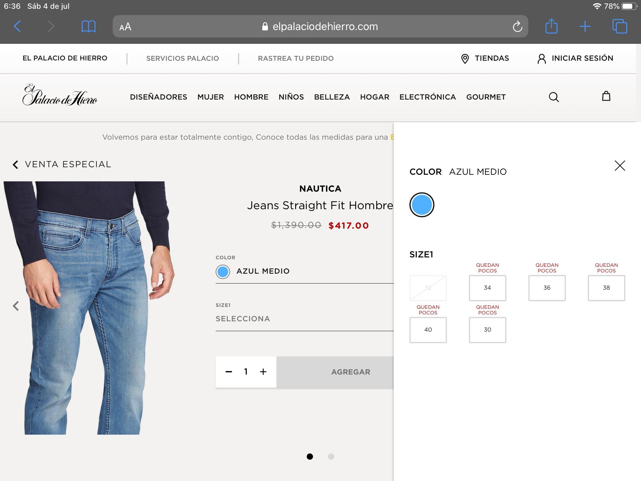 Palacio de hierro: Jeans Náutica