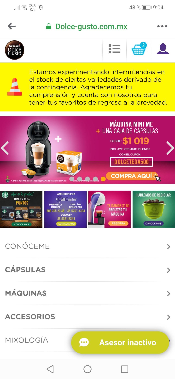 Cafetera Nestle Dolce Gusto + Caja de cápsulas ( directamente en la página de Dolce Gusto)