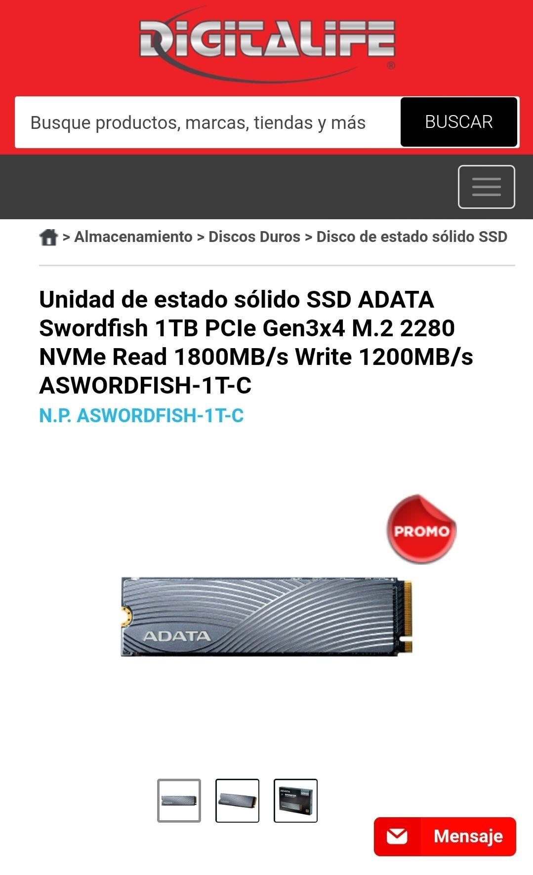 Digitalife: Unidad de estado sólido SSD ADATA Swordfish 1TB PCIe Gen3x4 M.2 2280 NVMe Read 1800MB/s Write 1200MB/s ASWORDFISH-1T-C
