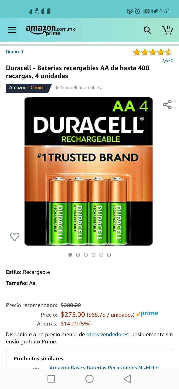 Amazon Prime 4 pilas AA Duracell Recargables