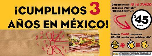 Whichwich: Promocion por Aniversario 3 años todos los wiches a $45 el 10 de junio