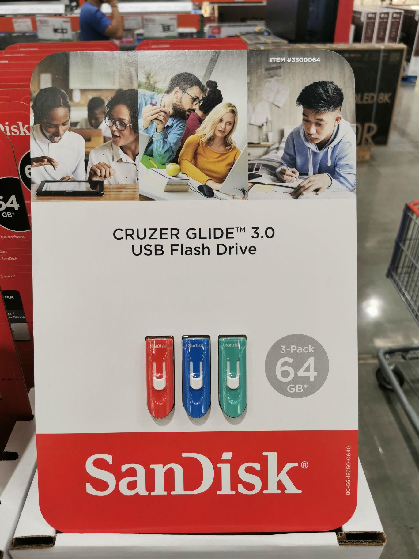 Costco: Paquete 3 memorias USB SanDisk 64gb 3.0