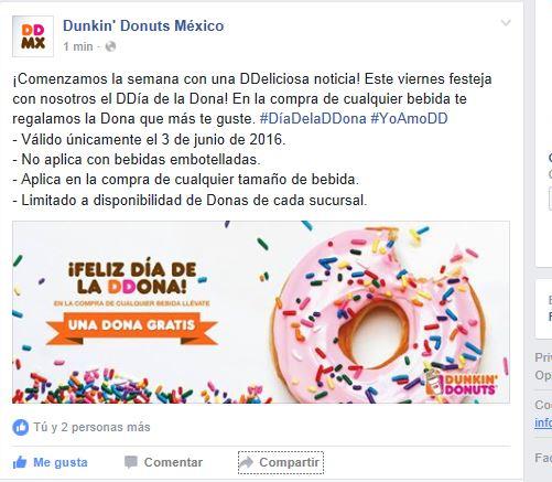Dunkin Donuts: día de la dona el 3 de junio