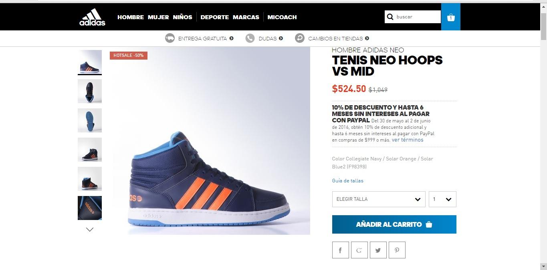 Ofertas Hot Sale Adidas en línea: Tenis Neo de $1049 a $524.50 + Envio Gratis
