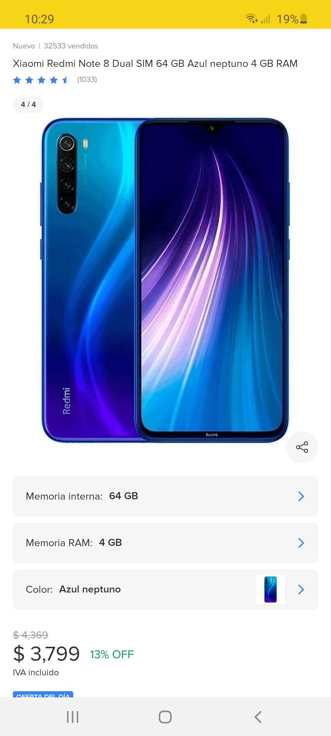 Tienda oficial Telmov en Mercado Libre: Xiaomi Redmi Note 8 Dual Sim (Pagando con Banorte)