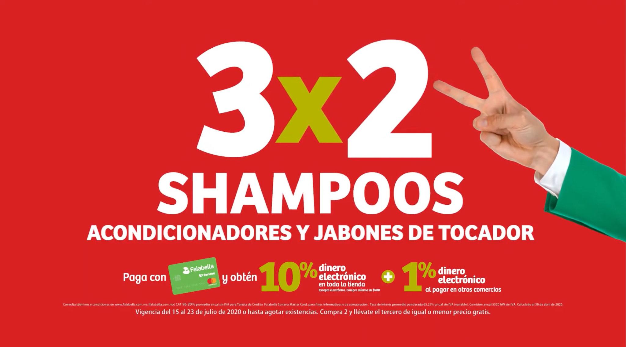 Julio Regalado 2020 en Soriana: 3x2 en TODOS los Shampoos, Acondicionador y Jabones de Tocador