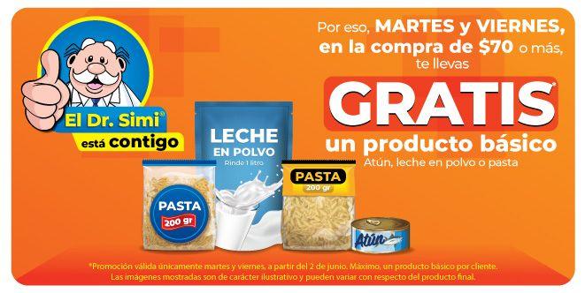 Farmacias Similares: Gratis un producto básico (atún, leche en polvo ó pasta) en la compra de $70 ó más los martes y viernes