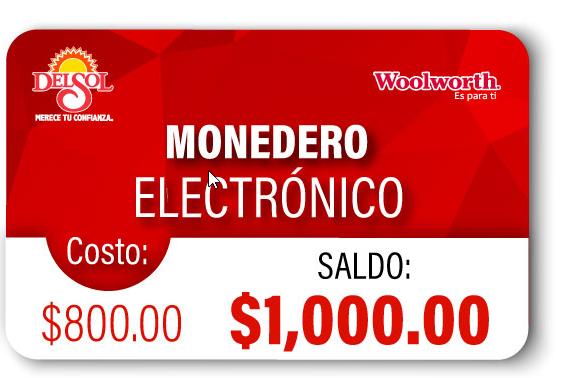 Del Sol – Woolworth: Monedero Electronico Pagas 800 Recibes 1,000