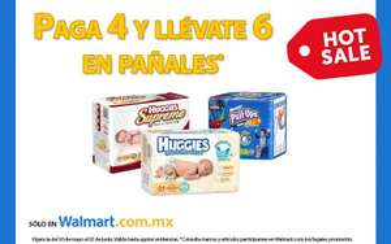 Ofertas Hot Sale en Walmart: 6x4 en pañales Huggies y KleenBebé