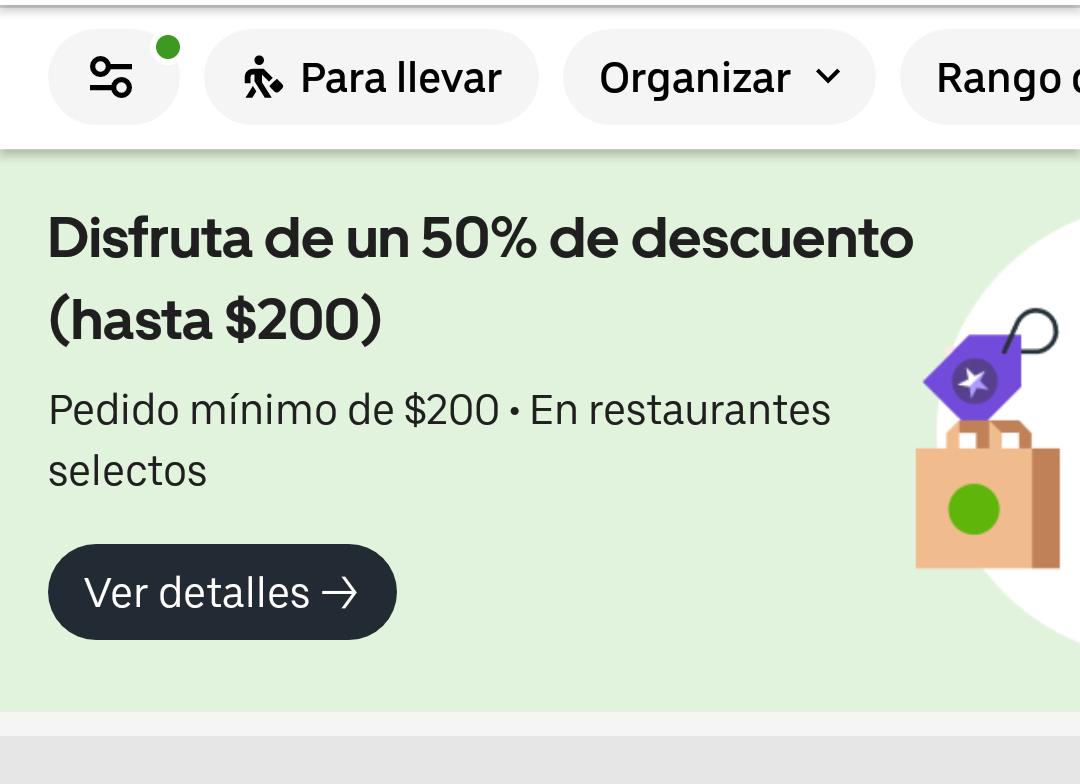 Uber Eats 50% de descuento en compras de 200