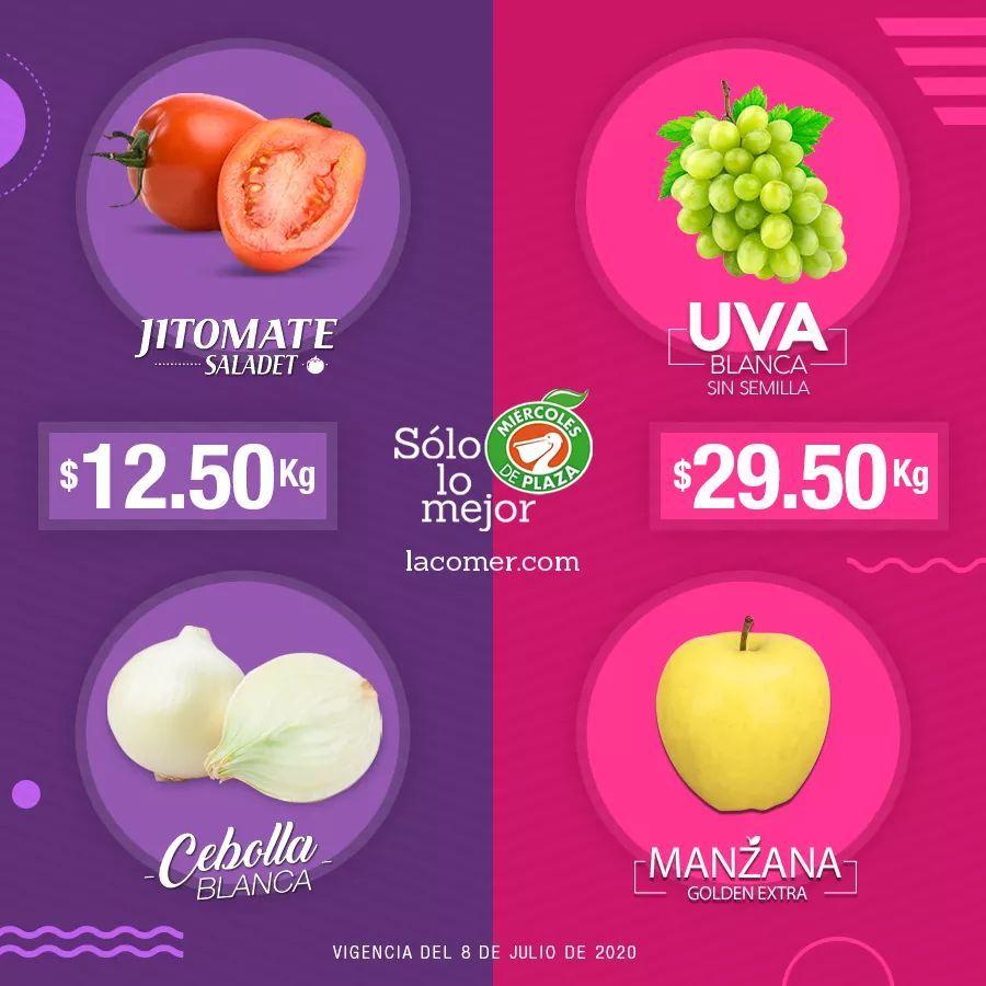 La Comer y Fresko: Miércoles de Plaza 8 Julio: Jitomate ó Cebolla $12.50 kg... Uva Blanca sin Semilla ó Manzana Golden $29.50 kg.