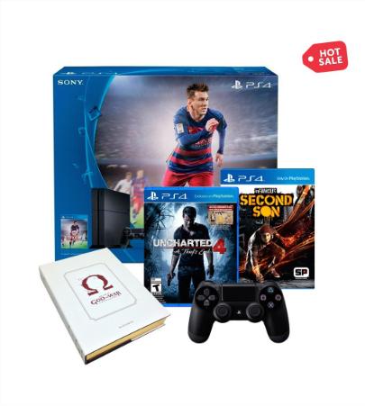Ofertas de Hot Sale Walmart: Ps4 version fifa 16 + Uncharted 4 + Infamous + Control dualshock + art book GOW $7,166 con Banamex