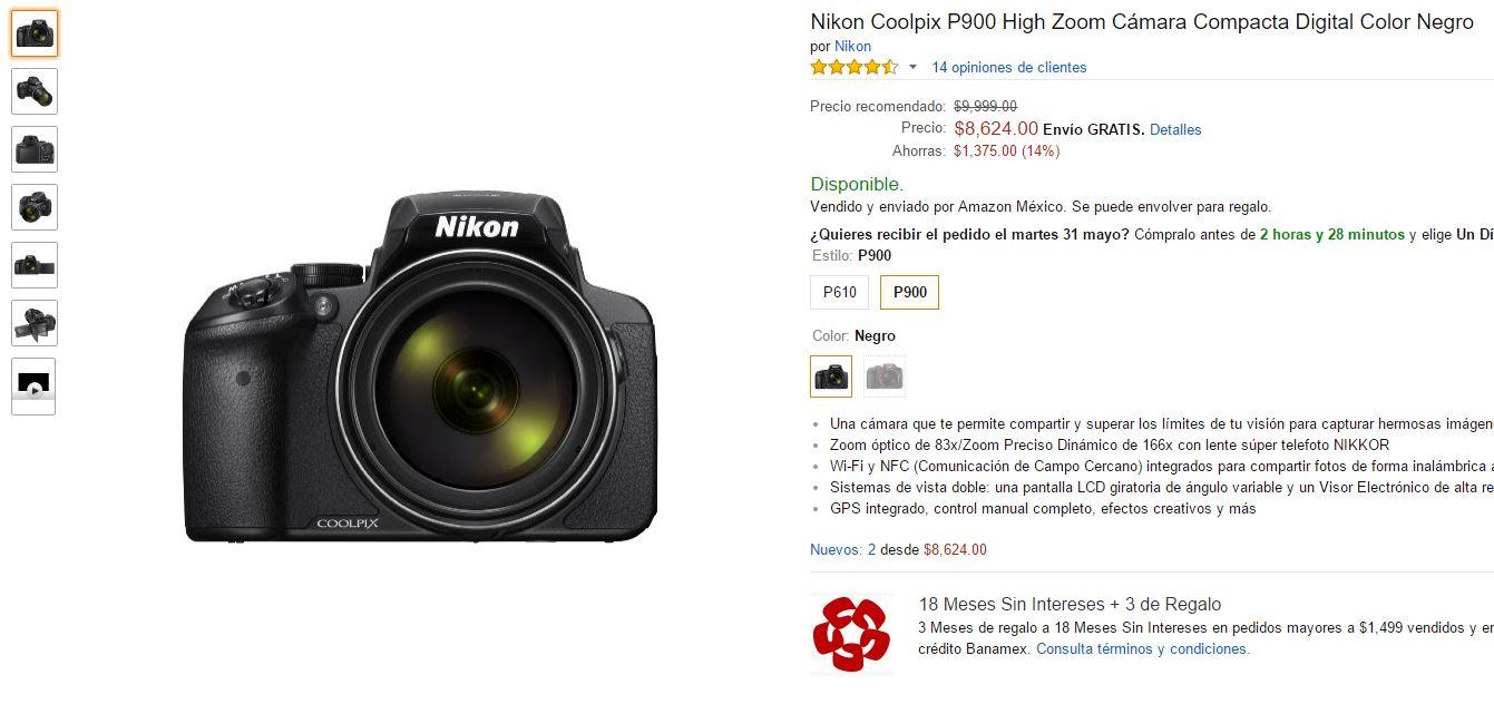 Ofertas Hot Sale Amazon: (igual liverpool): Nikon Coolpix p900 con un zoom monstruoso a $8624 doblones mexicanos ($7187 con banamex a 18msi)