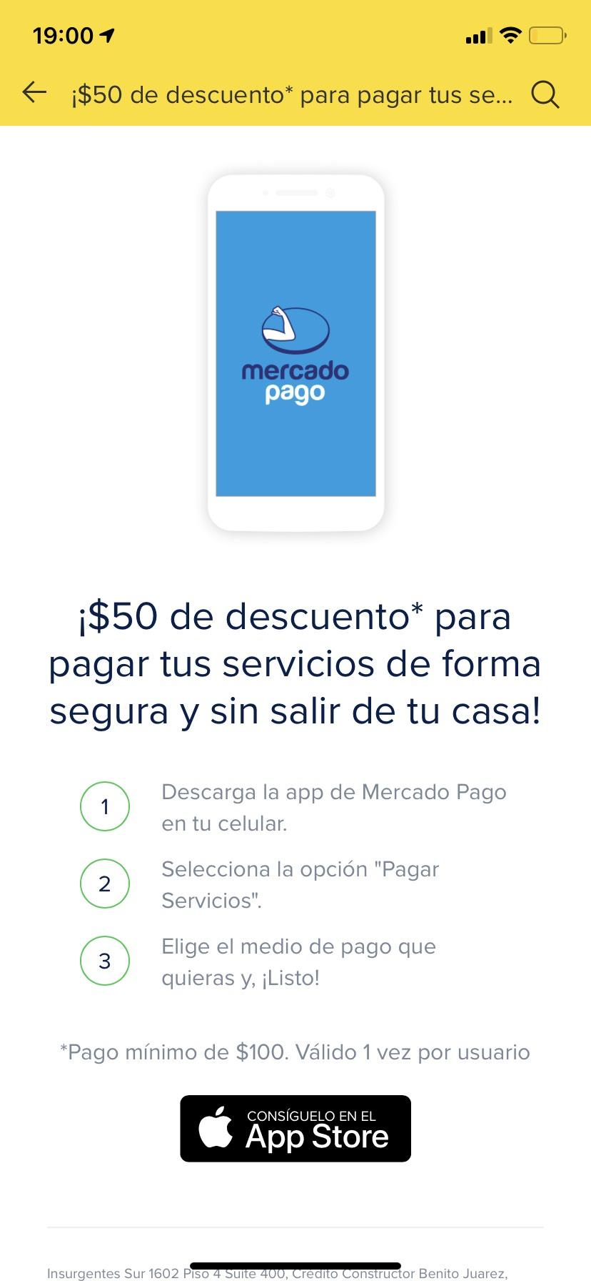 MercadoPago: $50 Pesos de Descuento al Pagar Servicios (CFE, Agua, etc.)