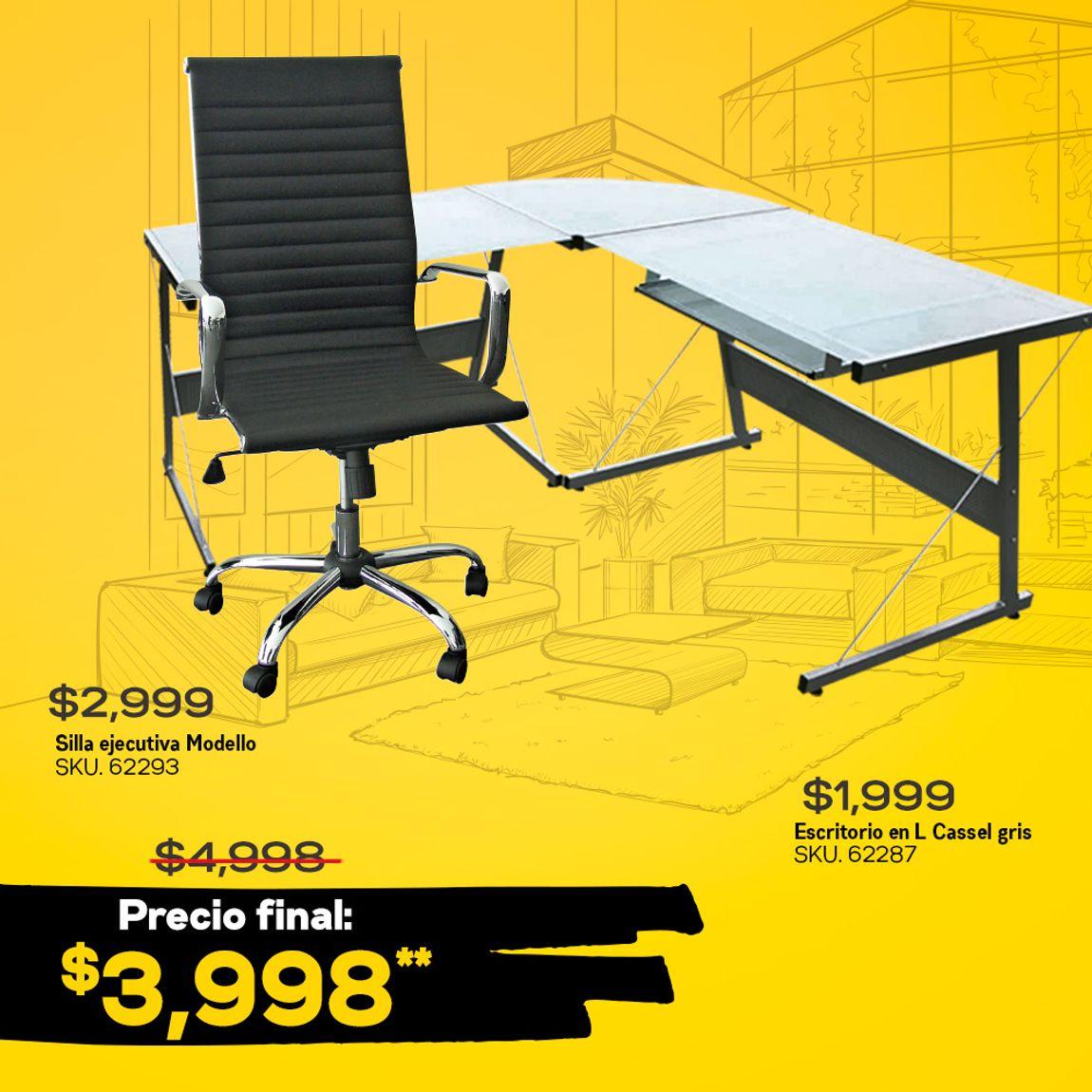 Office Max: Kit escritorio en L cassel + silla ejecutiva modello