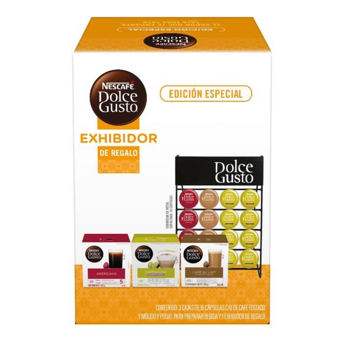Superama Cápsulas de café Nescafé Dolce Gusto varios sabores 3 cajas con 16 pzas c/u exhibidor de regalo