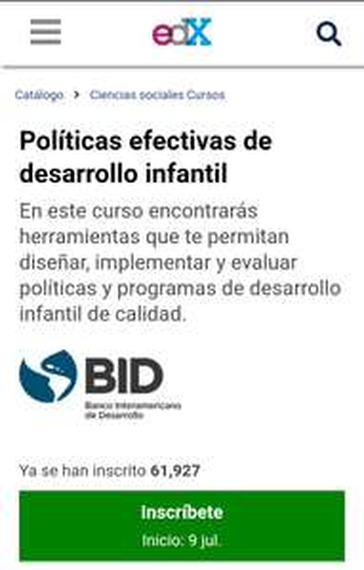 Curso Políticas efectivas de desarrollo infantil