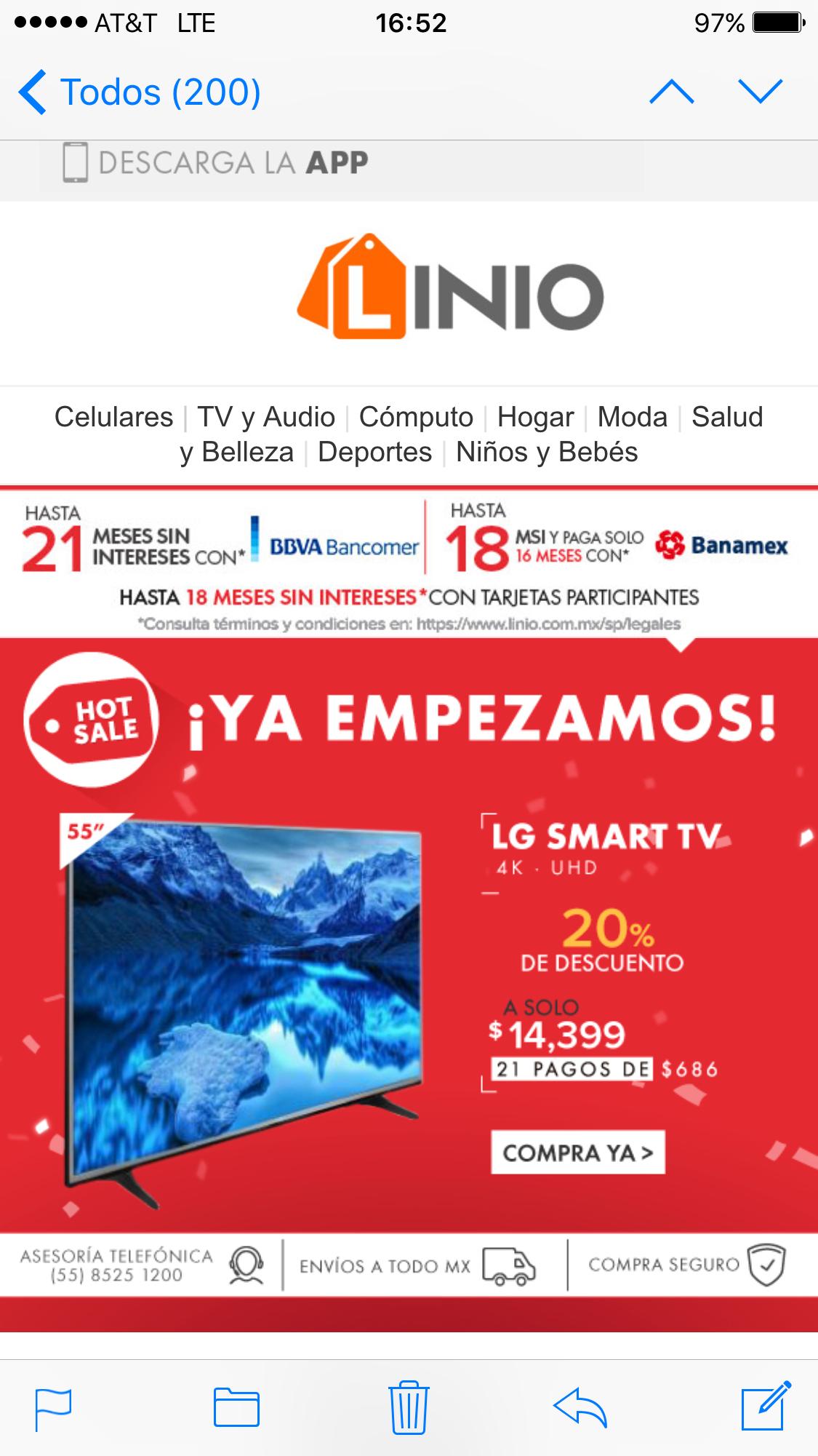 "Ofertas Hot Sale Linio: LG 55"" Smart Tv 4K UHD 55UH6150 a Solo $14,399"