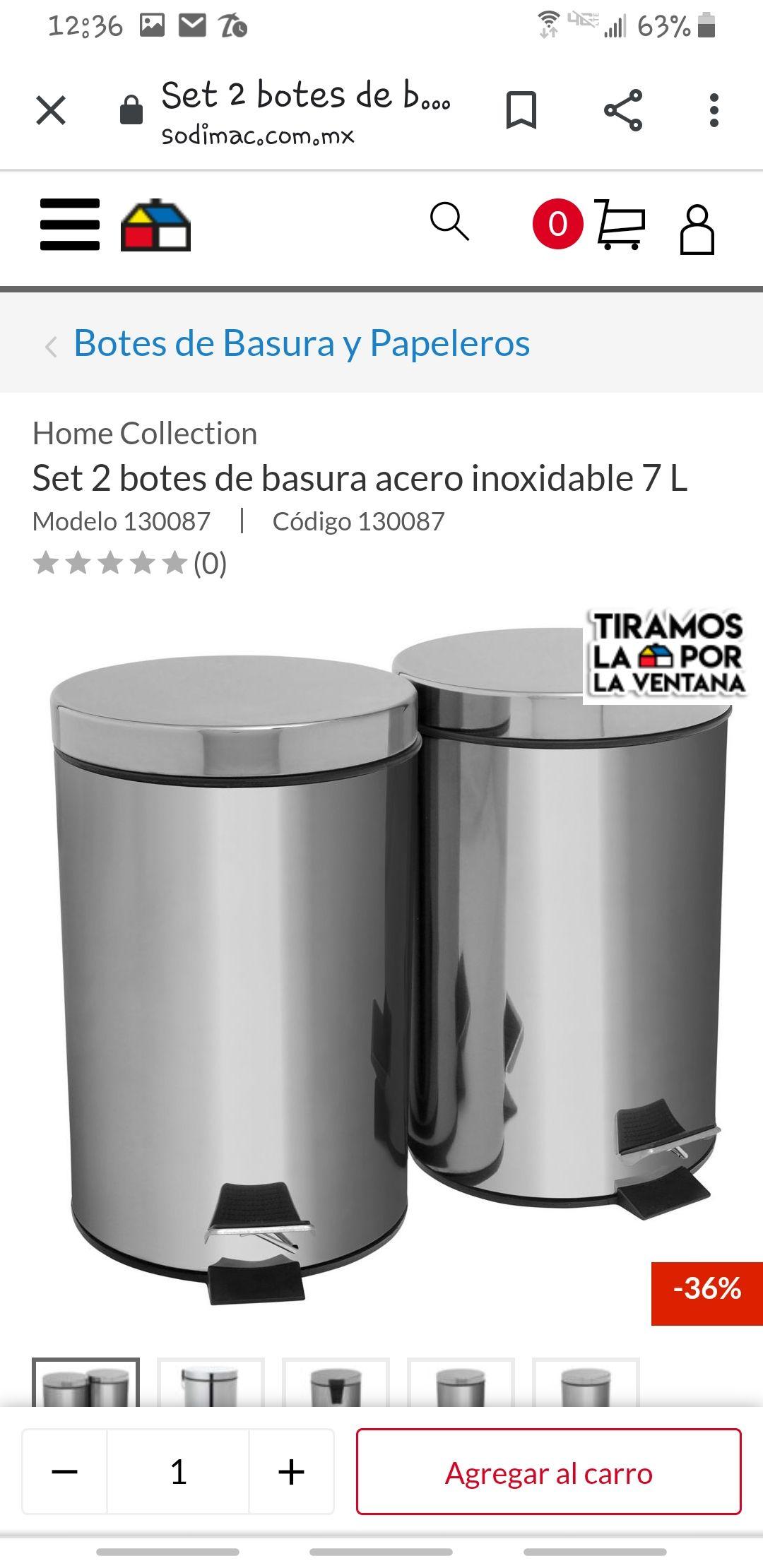 Sodimac: Botes de basura kit 2 botes de 7 litros cada uno