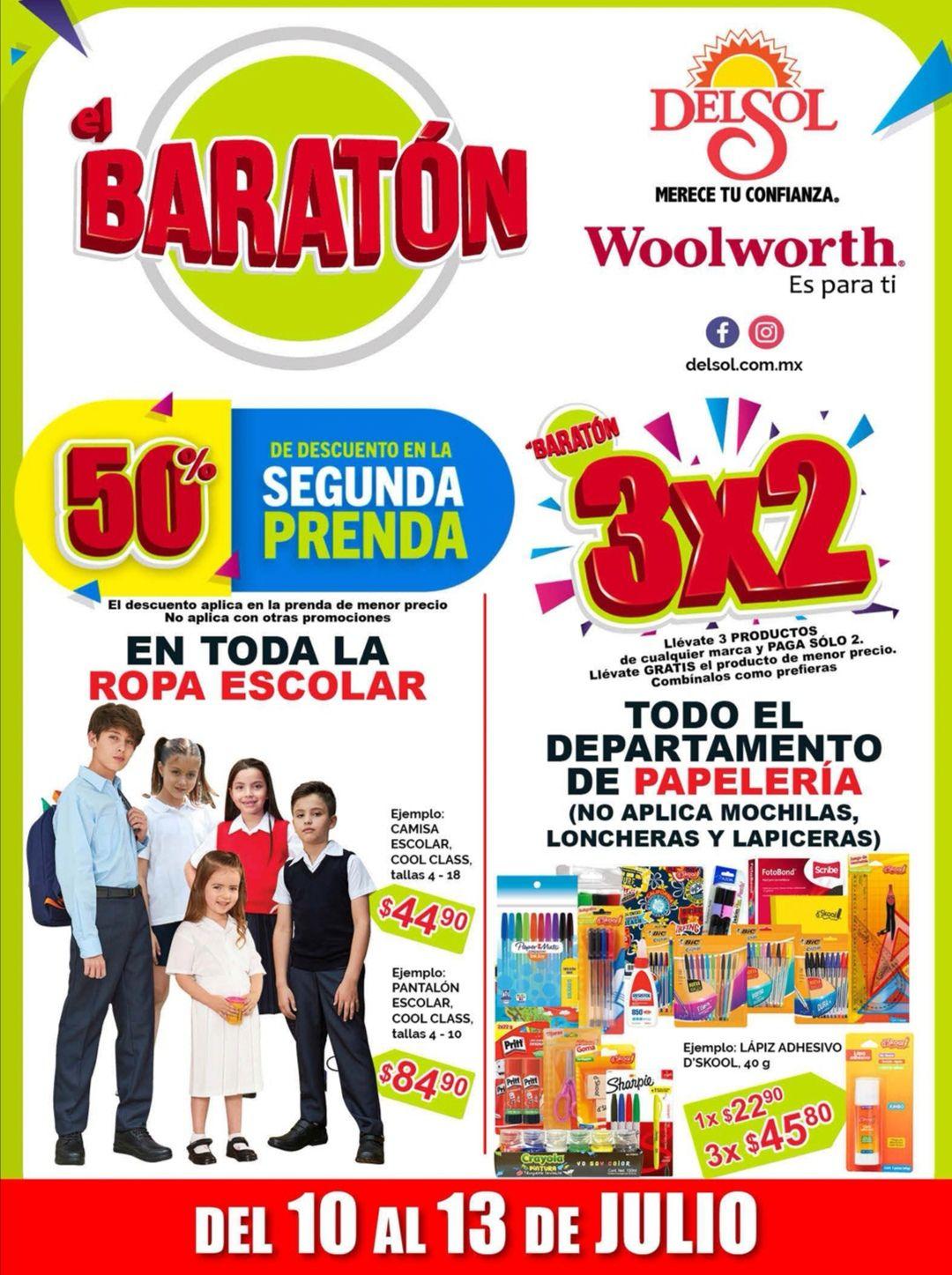 """Woolworth y Del Sol: 3° Folleto de Ofertas """"El Baratón"""" del Viernes 10 al Lunes 13 de Julio"""