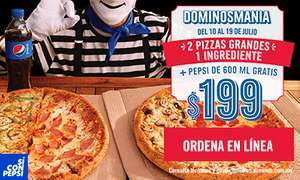 Domino's Pizza: 2 Pizzas grandes 1 ingrediente + Pepsi 600 ml