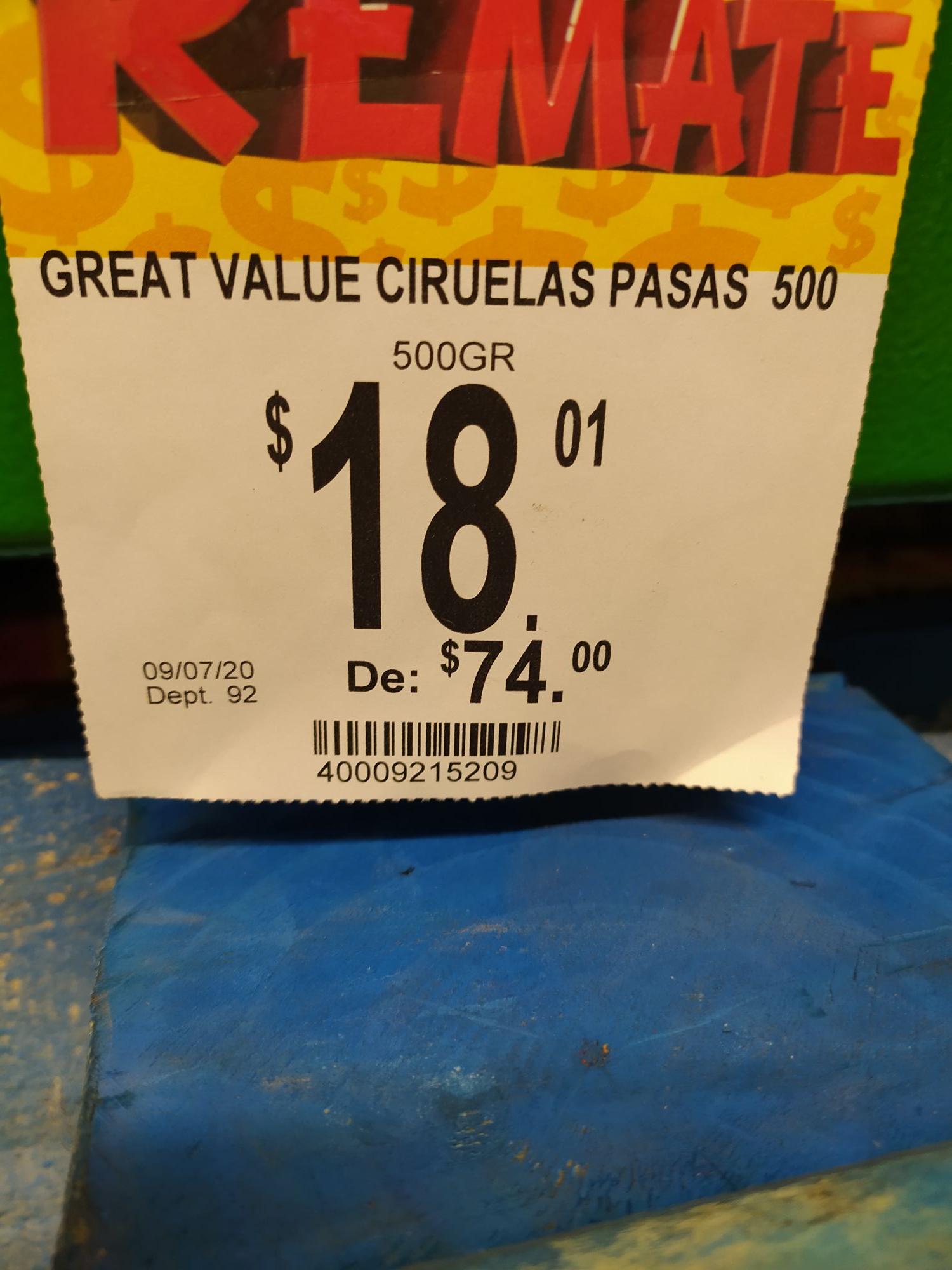Bodega Aurrerá: Medio kilo de ciruela pasa en 18 pesitos