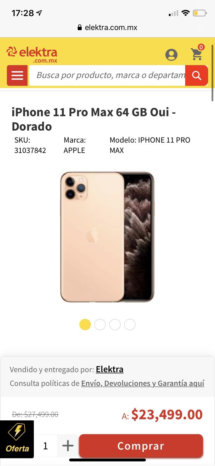 Elektra: Iphone 11 pro max 64 GB pagando con banco azteca