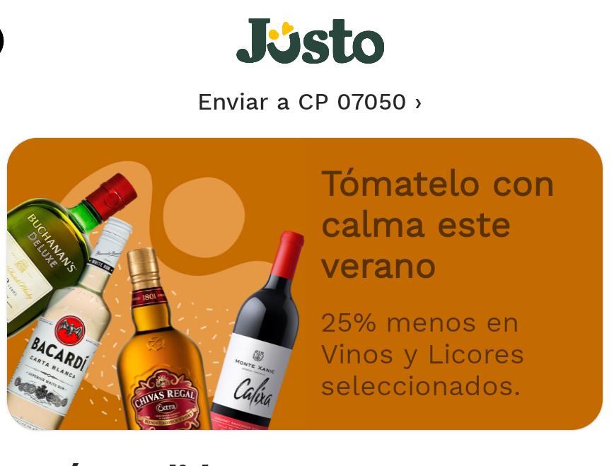 Jüsto: 25% de descuento en vinos y licores