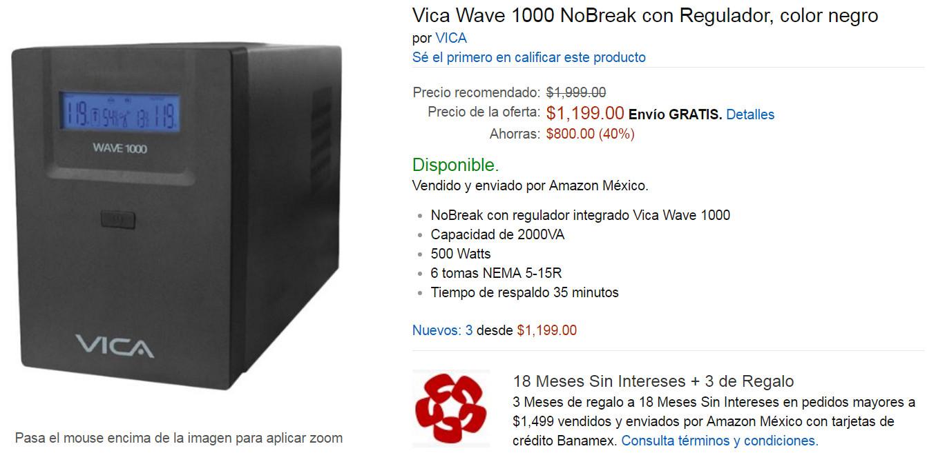Oferta del Hot Sale en Amazon: No Break VICA Wave-1000 1000VA 1 hora de respaldo, a $1,199