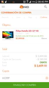 "Oferta del Hot Sale en Linio: Philips Pantalla LED 32"" HD a $2,609 pagando con Paypal"