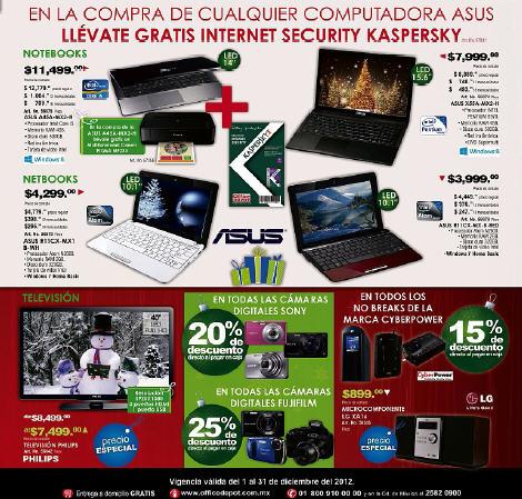 Folleto Office Depot: 20% de descuento en cámaras Sony, 25% en Fuji y +