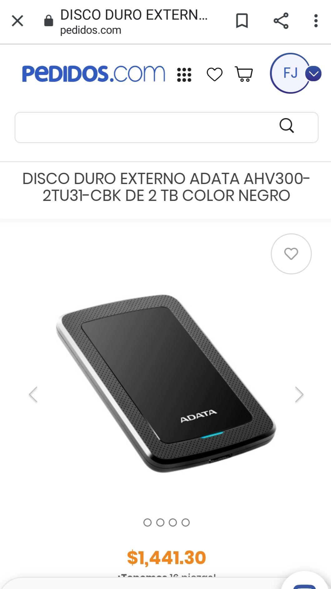Pedidos.com Disco duro Adata 2tb usb 3.1