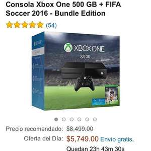Oferta del Hot Sale en Amazon: Xbox One 500 GB Fifa 16 a $5,749 ($4,791 con Banamex)