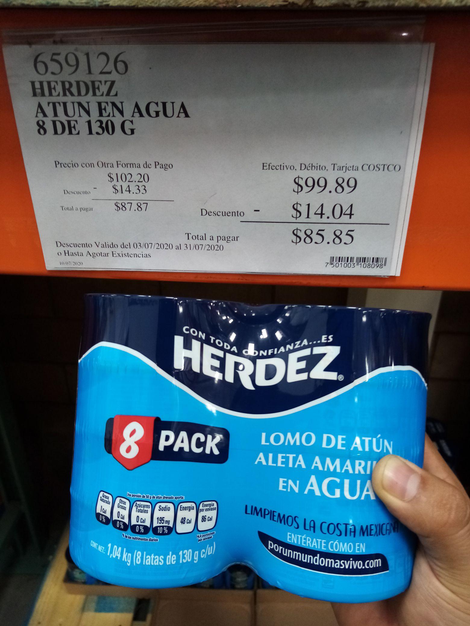 Costco: Atun en agua Herdez 8 pack $85.85 ($10.73 por Pieza)