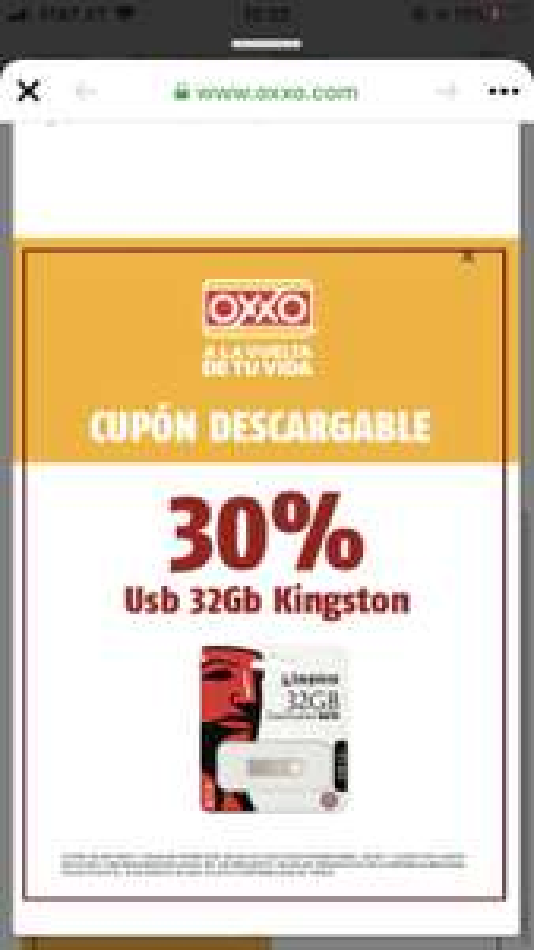 OXXO: memoria USB Kingston 30% off