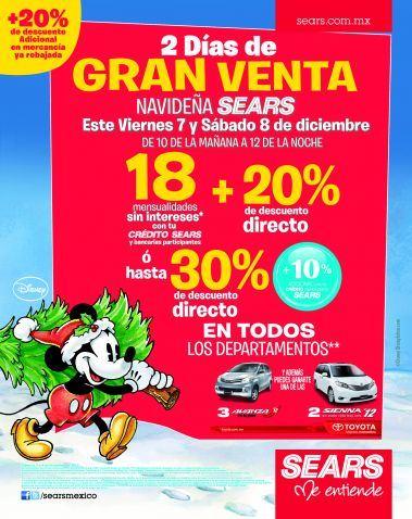 Gran Venta Navideña Sears 7 y 8 de diciembre