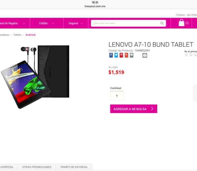 Ofertas Hot Sale Liverpool: bundle de tableta Lenovo A7-10, audífonos y funda