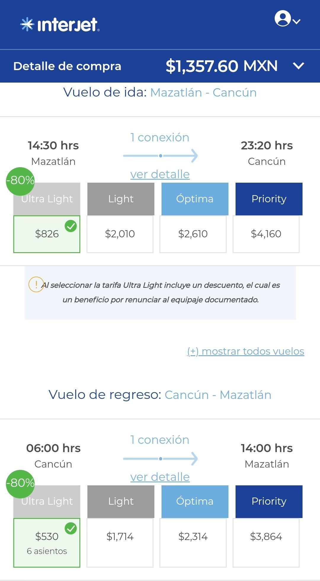 Interjet Vuelo redondo Mazatlán - Cancún