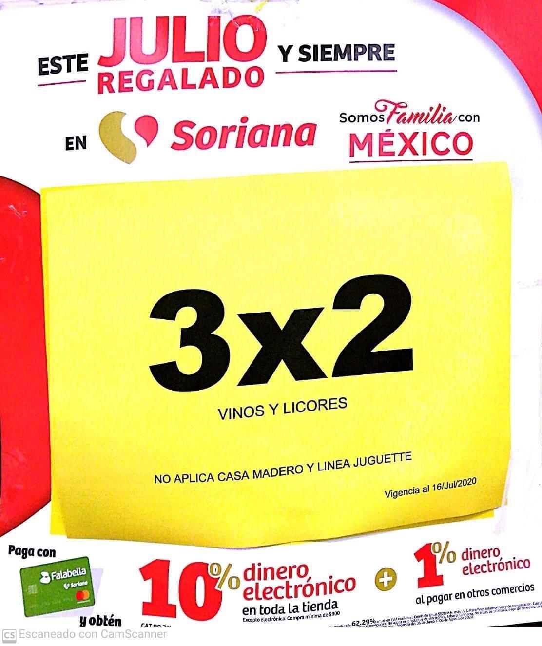 Julio Regalado 2020 en Soriana: 3x2 en TODOS los Vinos y Licores