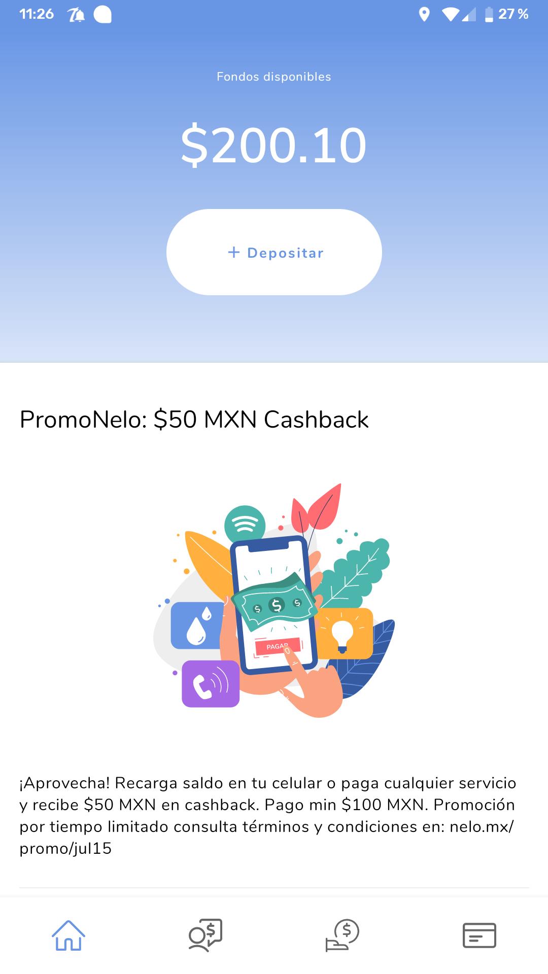 Nelo $50.00 de Cashback al hacer recarga o pago de servicio de $100