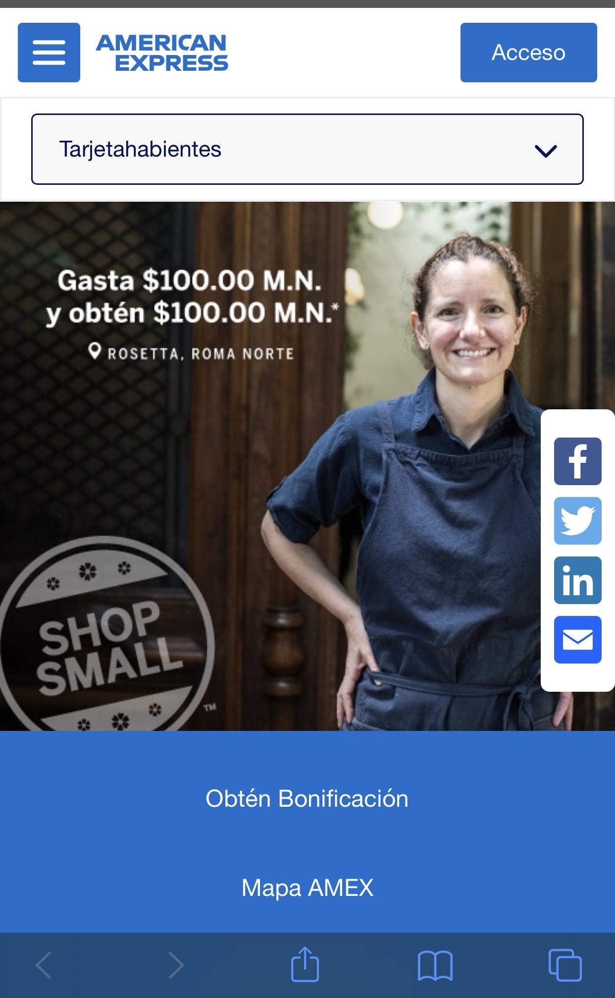AMEX: Gasta $100, recibe $100. Apoyando a pequeños negocios SHOP SMALL.